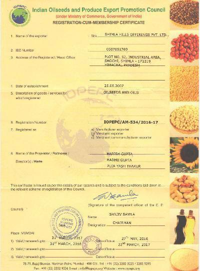 OIL SEEDS EXPORT CERTIFICATION