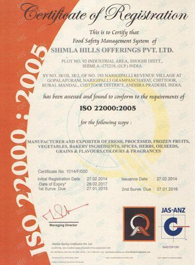 ISO 22000:2005 CERTIFIED
